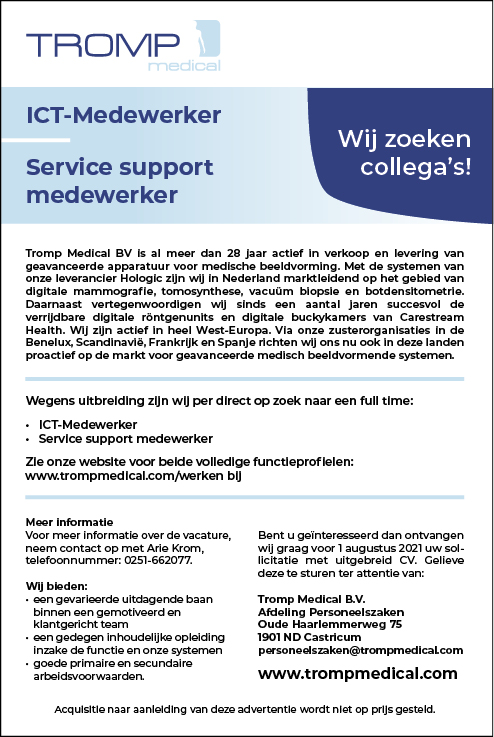 Vacature Service Support Medewerker
