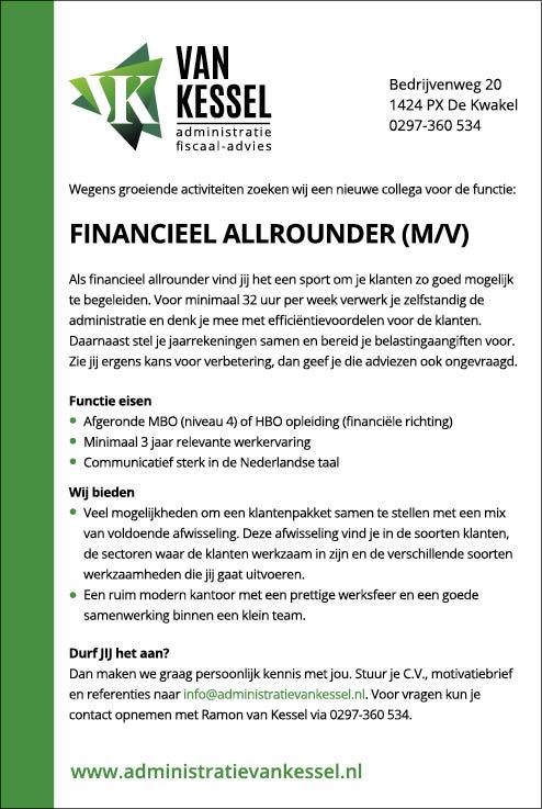 Vacature Financieel Allrounder