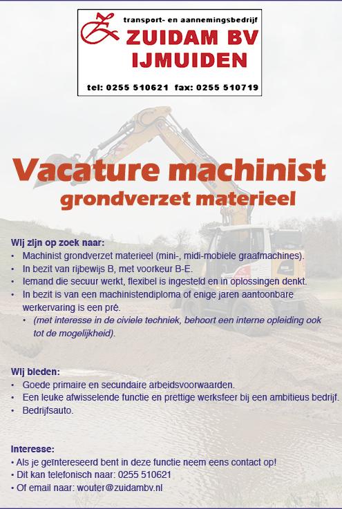 Vacature Machinist grondverzet materieel